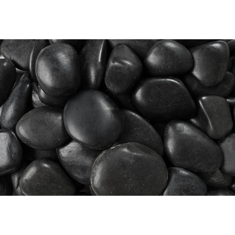 1 in. to 2 in., 2200 lb. Medium Black Grade A Polished Pebbles Super Sack